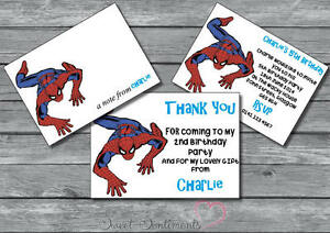 Spiderman Personalised Glossy Birthday Party Invite Thank You Card