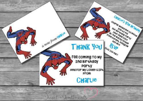 Spiderman personnalisé Brillant Fête D/'Anniversaire inviter note12 merci carte