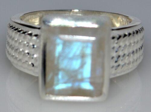 T L De 9 ½ Corte Esmeralda Ópalo Lunar Arco Iris Anillo De Plata Esterlina.925 todos los tamaños 5 ½