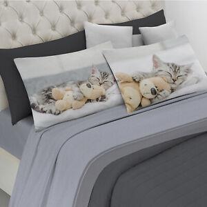 Lenzuola Matrimoniali Con Stampe Animali.Dettagli Su Completo Lenzuola Stampa Digitale Cuccioli Animali Gatti 100 Cotone Made Italy