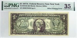 Series-1977-A-1-FRN-New-York-Fr-1910-B-Offset-Printing-Error-Note-PMG-Ch-VF35