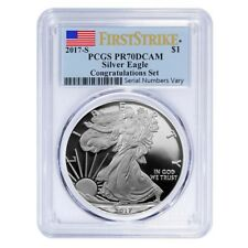 2017-S 1 oz Proof Silver American Eagle Congratulations Set PCGS PF 70 FS