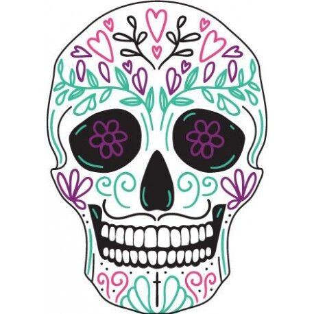 Tête mort skull couleur autocollant sticker adhesif 17 cm