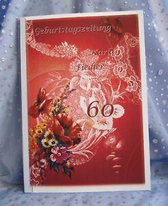 Geburtstag-s-Zeitung-Geschenk-Blumen-50-55-60-65-70-75-80-85-90-95-Mohnblume