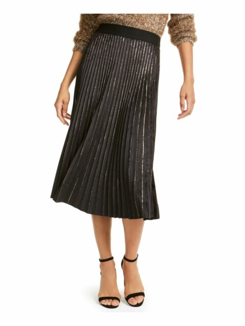 LUCY PARIS Womens Black Glitter Below The Knee Accordion Pleat Skirt Size: XL