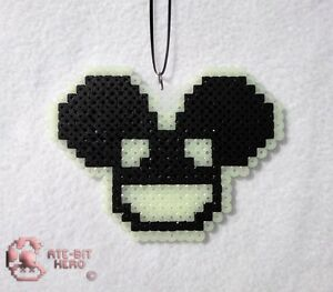 Deadmau5-4x4-12-Glow-in-the-Dark-Black-Necklace-Bead-Sprite-Perler-Art-Ate-Bit