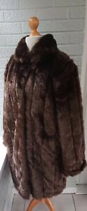 Coat Basso Brown 20 Luxurious 18 Long Heavyweight Fur Dennis 22 Faux Size Xl wYq65d6nx