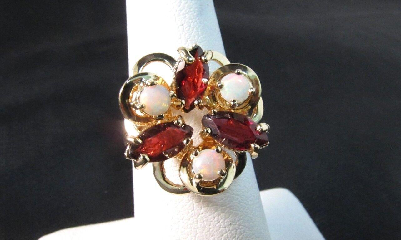 10K Solid gold Garnet & Opal Ring Size 6 .  SALE