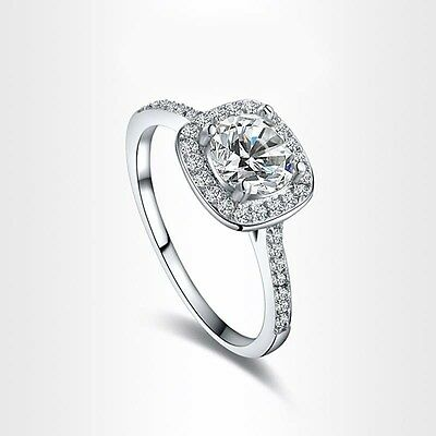 8mm Round Cut CZ White Gold Filled Engagement Ring Women's Wedding Jewelry