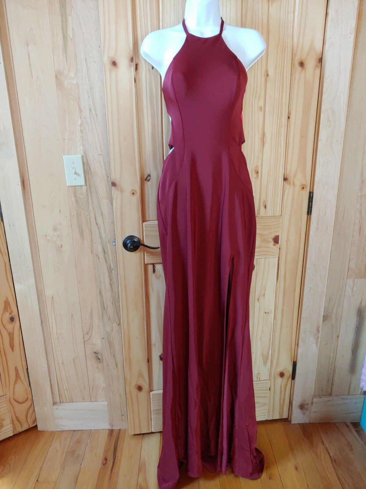 La Femme Prom Dress Formal strappy Evening Gown 24380 Burgundy Front Slit Size 6