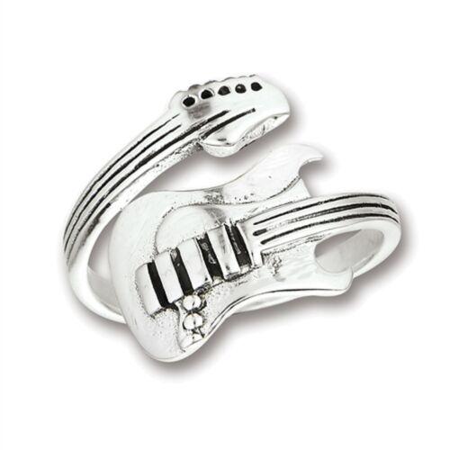 Sterling Silver Guitare Bague Ajustable Pour Ajustement parfait