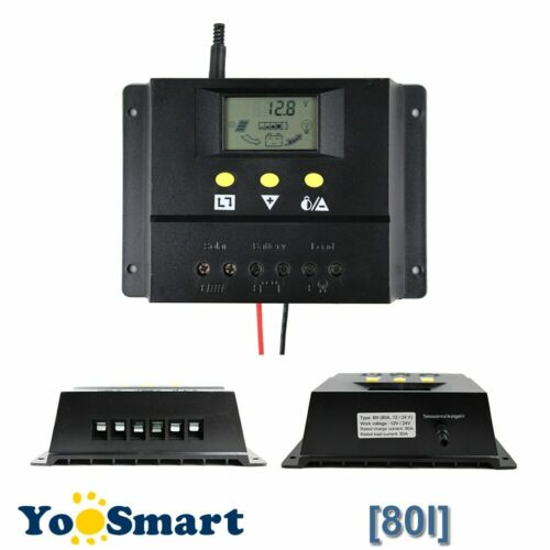 80A Solar Charge Controller 12V 24V 1000W 2000W Solar Panel LCD Screen Display