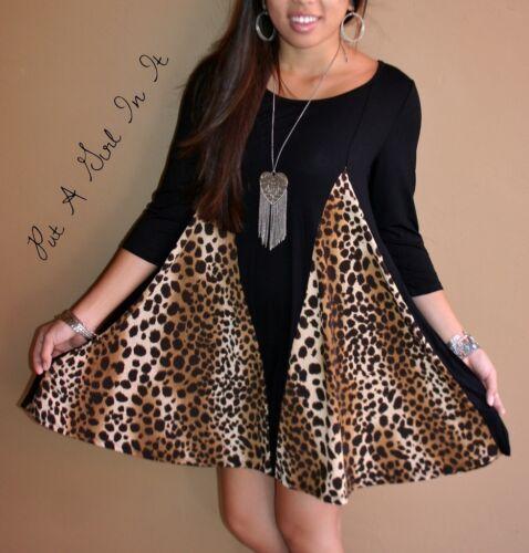 PLUS SIZE LITTLE BLACK ANIMAL LEOPARD 3//4 SLEEVE FULL USA MINI DRESS 1X 2X 3X
