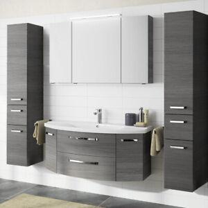Details Zu Badezimmer Set 120cm Waschtisch Mit Unterschrank Grau Waschbecken 2 Hochschranke