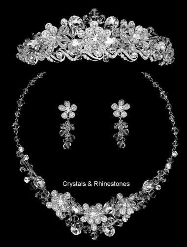 Silver Rhinestone Encrusted Crystal Flower Bridal Tiara Necklace Jewelry Set