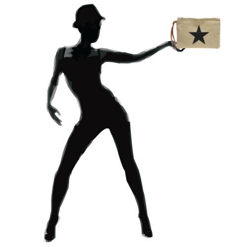 CASPAR TS354 kleine Damen Sommer Jute Clutch Tasche Umhängetasche mit  Stern