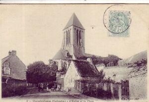 CPA-14-Environs-Bayeux-Bernieres-Courseulles-OUISTREHAM-L-039-Eglise-et-la-Place1906