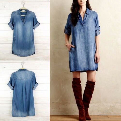Anthropologie Cloth & Stone Chambray Tunic Dress s