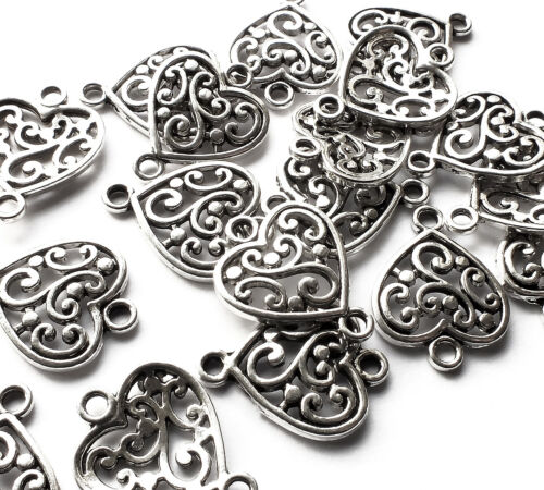 20 Filigree Love Heart Charm Connector Pendant 19mm Silver Plated Valentine