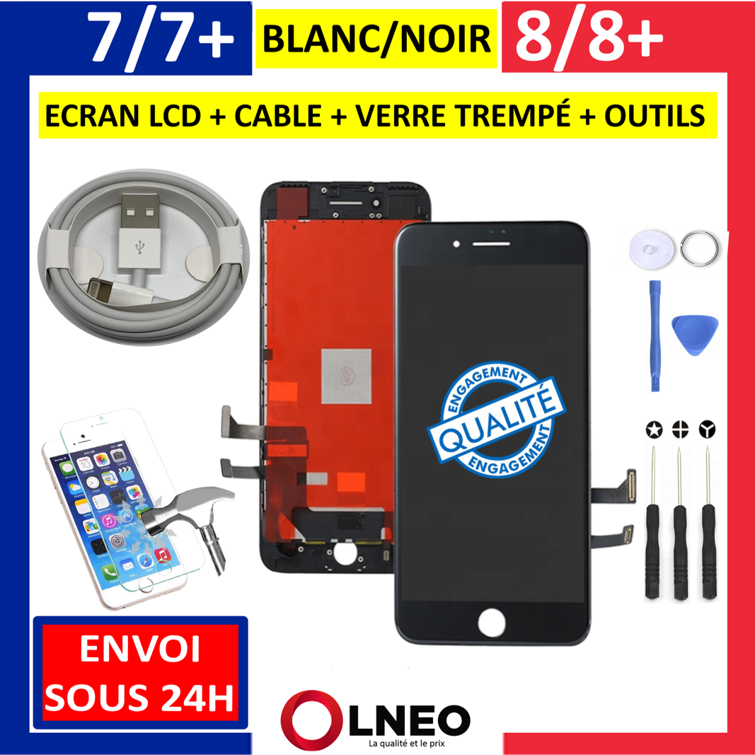 iPhone: ECRAN LCD VITRE TACTILE COMPLET NOIR BLANC IPHONE 7 / 7 PLUS / 8 / 8 PLUS + / SE