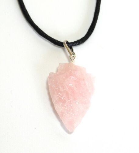 REIKI HEALING ENERGY CHARGED ROSE QUARTZ CRYSTAL ARROWHEAD PENDANT LOVE GIFT