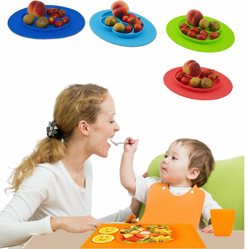One-Piece Silicone Placemat Food Plate Mat Baby Toddler Child Kids Divided Bowl 3