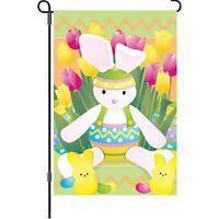 Easter Bunny Tulip Flower Jelly Beans Garden Flag 18 X 12