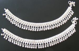 69b9b0b63f4 Image is loading HANDMADE-UNIQUE-DESIGNER-PURE-SILVER-ANKLET-PAIR-INDIAN-