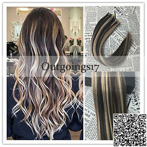 Details About 7a Balayage Highlight Dark Brown Mix Blonde Remy Pu Tape In Human Hair Extension
