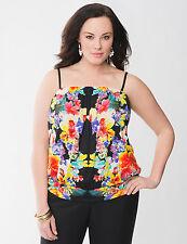 NEW Lane Bryant Plus 22/24 3X BLACK Floral Flower Print Tube Tank Top Shirt Cami