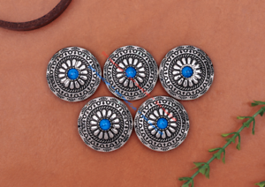 10pcs Turquoise Bead Tribal Flower Wallet Leather Craft Conchos Decor Screw Back