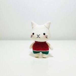 "Handmade Crochet Amigurumi Plush Doll (Suika the Cat) - 6"" tall"