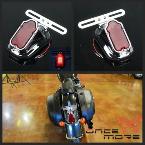 Retro Motorcycle Aluminum Tombstone Taillight Lamp For Harley Chopper Bobber