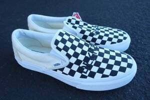 6eec63d6f76 Vintage NEW Vans Slip-On Checker Custom Embroidered Shoes Size 9.5 ...