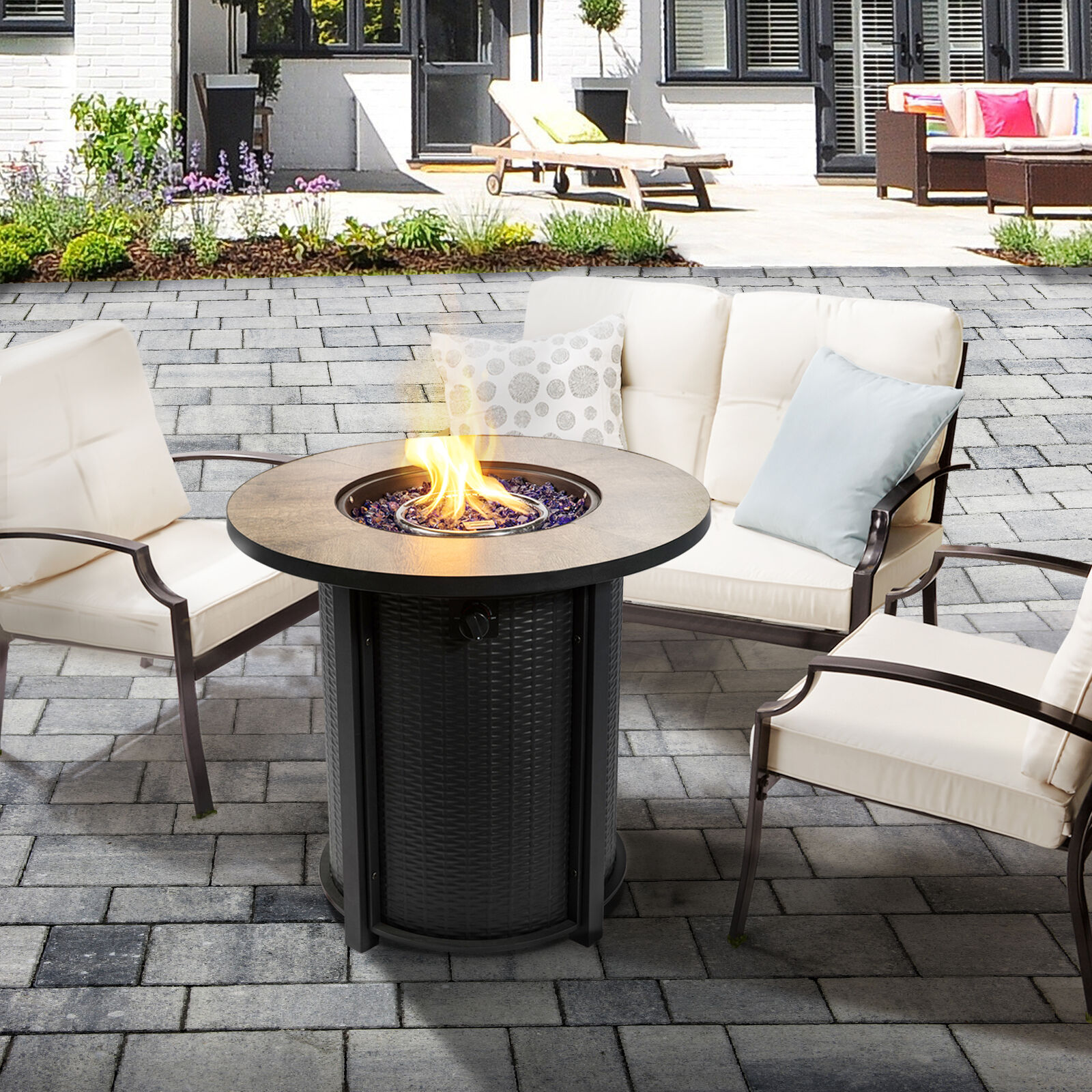 Peaktop Firepit Outdoor Gas Fire Pit Metal With Glass Rocks & Cover HF30900BA-UK