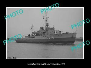 OLD-8x6-HISTORIC-AUSTRALIAN-NAVY-PHOTO-OF-THE-HMAS-FREMANTLE-SHIP-c1950