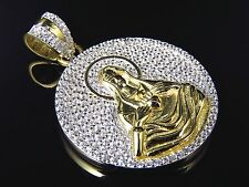 """Sterling Silver Mother Mary Simulated Diamond Pendant in Yellow Gold Finish 1.5"""""""