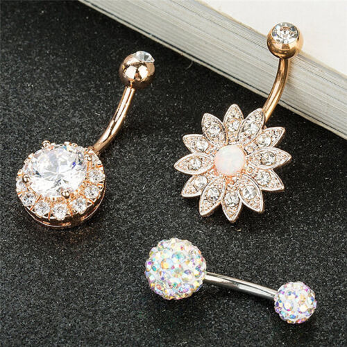 3PCS Stainless Steel Crystal Opal Belly Button Rings Navel Piercing Jewelry  I