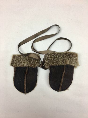 Genuine Sheepskin Baby Mittens with Keep Safe Cord Brown Curly Wool