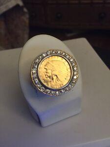 $2.1/2 DOLLAR 23.5K GOLD INDIAN HEAD EAGLE COIN MENS RING DIAMOND SZ 12.5 Heavy!