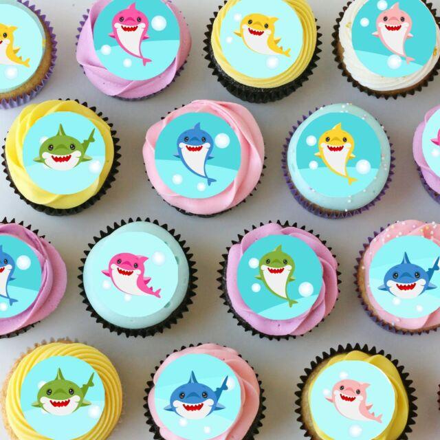 Baby Shark Mini Edible Icing Cupcake Toppers - PRE-CUT Sheet of 30
