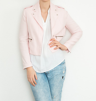 Zara Bikerjacke Blazer oversize boyfriend blogger rosa nude puder Gr. L NEU RAR