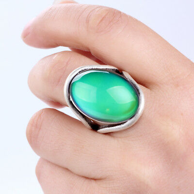 Top Selling Womens Antique Silver Plated Mood Oval Stone Color Change Gift Ring