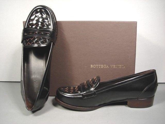 Bottega VENETA 36 6 6 6 Negro Cuero Tejido PENNY Mocasines zapatos bajos Zapatos Menswear Nuevo  100% autentico