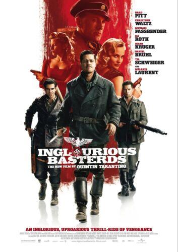 """Inglourious Basterds Movie Silk Poster 11/""""x17/"""" Tarantino Brad Pitt"""