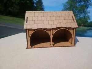 Christmas-Village-or-28mm-War-game-Tudor-Style-Small-Barn-2mm-MDF-Laser-Cut-Kit