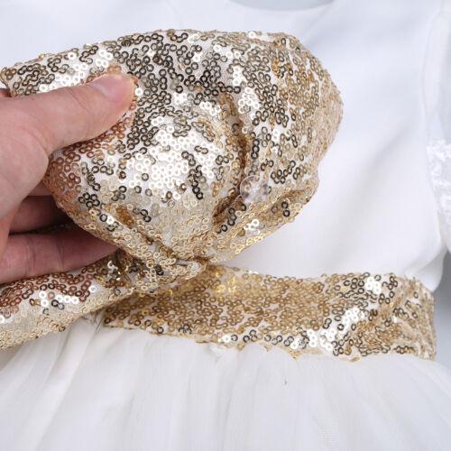 Infant Baby Girls Sequins Bow Tutu Dress Princess Wedding Party Birthday Skirt