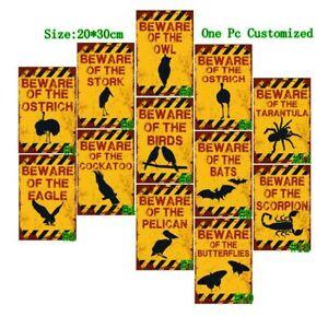 Beware of the Birds Vintage Metal Tin Signs Retro Art Wall Decor Poster