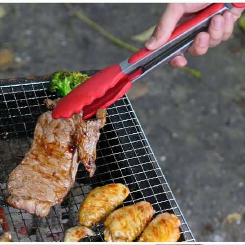Stainless Steel Kitchen Tong Silicone Non-slip Cooking Clip Clamp BBQ Salad Tool