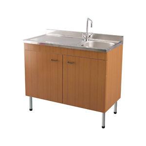 Mobile da cucina teak completo di lavello in acciaio inox con gocciolatoio a sx ebay - Mobile lavello cucina acciaio ...
